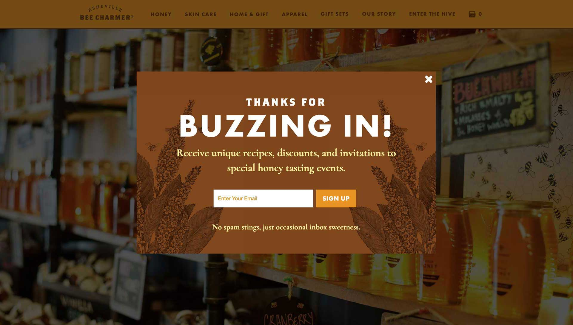 Asheville Bee Charmer Newsletter Sign Up Popup