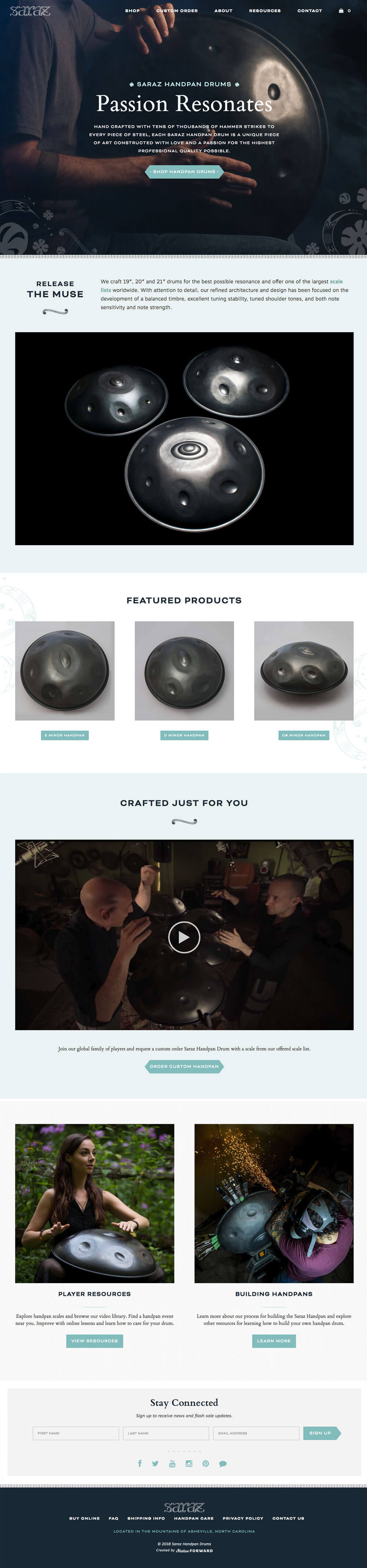 Saraz Handpan Home Page Design